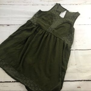 Anthro Lilka Green Flowy Tank Lace shift Dress